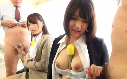 Japanese av model. Japanese AV Model talks on microphone while is touched on boobs